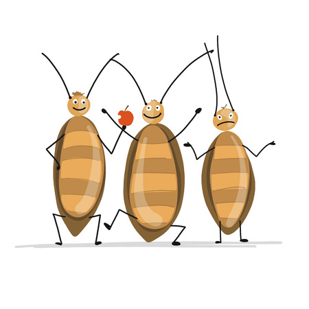 Funny cockroaches for your design. Vector illustration Фото со стока - 102925947