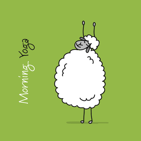 Funny sheep doing yoga, sketch for your design. Vector illustration Иллюстрация
