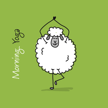 Funny sheep doing yoga, sketch for your design. Vector illustration Vettoriali