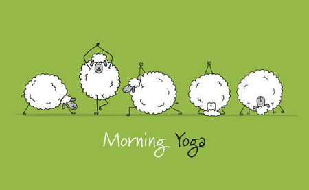 Funny sheeps doing yoga, sketch for your design. Vector illustration