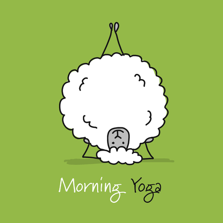 Funny sheep doing yoga, sketch for your design. Vector illustration 向量圖像