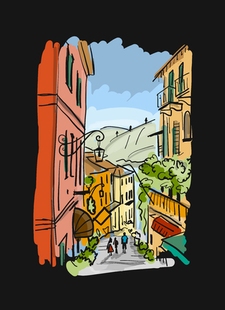 Old european street, sketch for your design Ilustrace