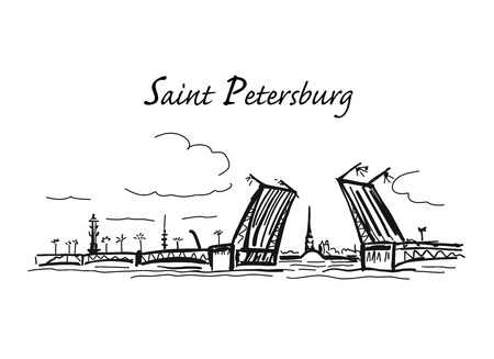 Drawbridge, symbol of Saint Petersburg, Russia. Sketch for your design Ilustração