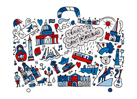 Travel to Saint Petersburg, sketch for your design Illustration