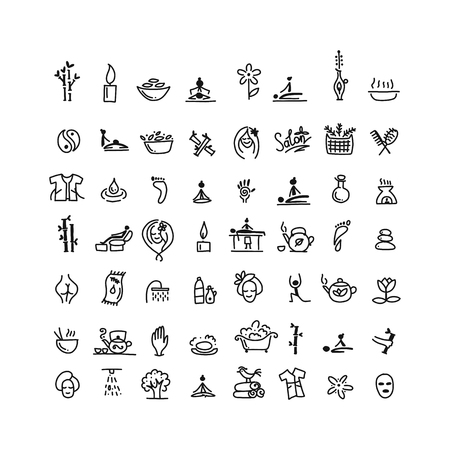 Massage and spa, icons set for your design Çizim