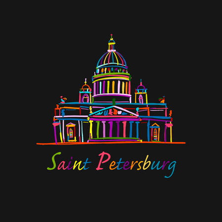 Saint Isaacs Cathedral of Saint Petersburg landmark, Russia. Vector illustration Illustration