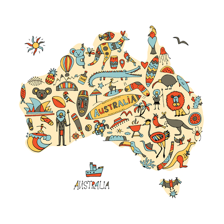 Australian map with icons set, sketch for your design