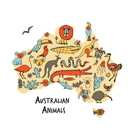 Australian map with icons set, sketch for your design 写真素材 - 103023710