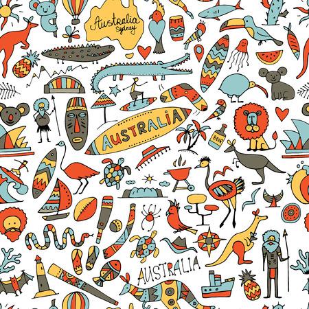 Ensemble d'icônes de l'Australie, esquisse pour votre conception