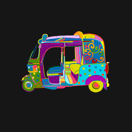 Tuktuk, motorbike asian taxi. Sketch for your design Illustration