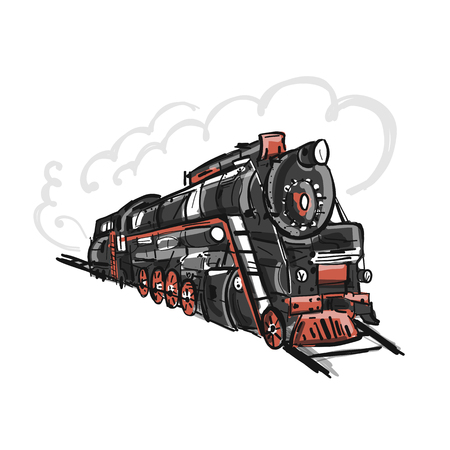 Retro train, sketch for your design Иллюстрация