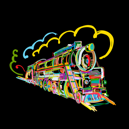 Retro train, sketch for your design Ilustração