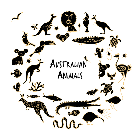 Australian animals set, sketch for your design