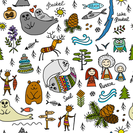 Travel to Baikal, Russia. Seamless pattern for your design Stock Photo