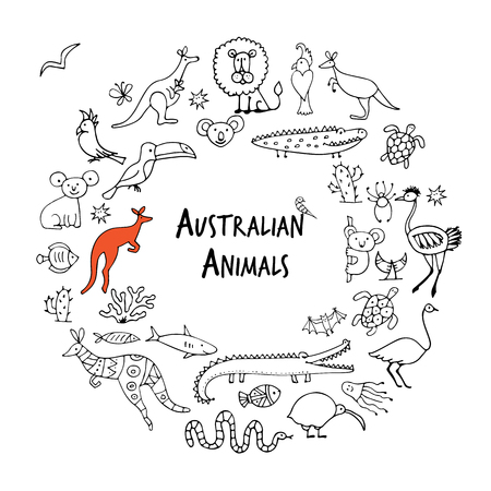 Australian animals set, sketch for your design. Vector illustration