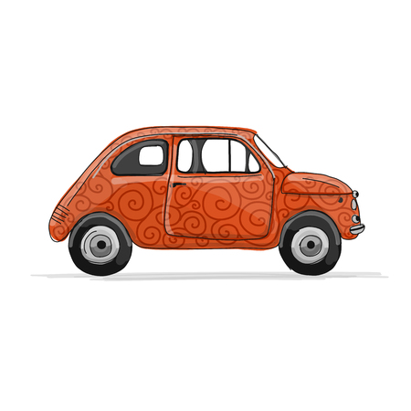 Retro red car, sketch for your design. Vector illustration Stock Photo