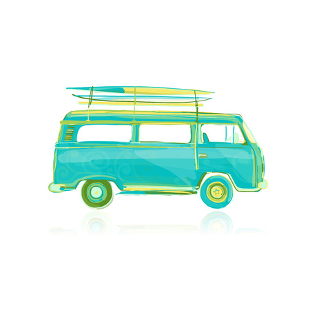Retro bus with surfboards, sketch for your design. Vector illustration