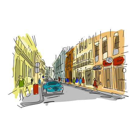 Street, sketch for your design. Vector illustration Illustration