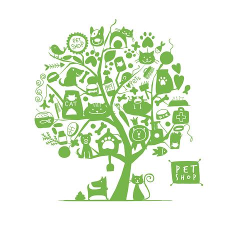 Pet shop, art tree for your design. Vector illustration Archivio Fotografico - 103067842