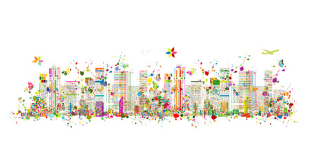 Colorful metropolis, abstract background for your design. Vector illustration Illustration