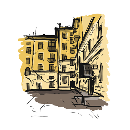 Old apartment house, sketch for your design. Vector illustration Stok Fotoğraf - 103067848