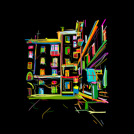 Old apartment house, sketch for your design. Vector illustration Stok Fotoğraf - 103067849