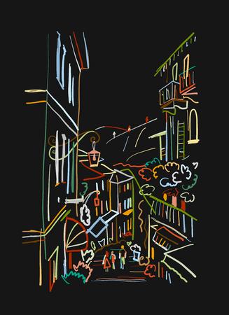 Old european street, sketch for your design. Vector illustration Standard-Bild - 103067850