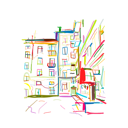 Old apartment house, sketch for your design. Vector illustration
