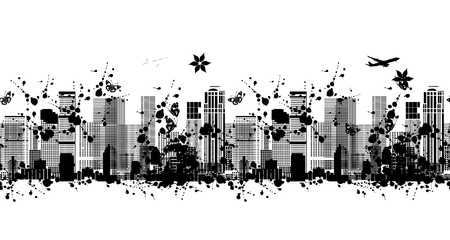 Metropolis silhouette, seamless pattern for your design. Vector illustration Stock Photo