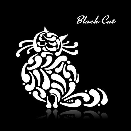 Große anmutige Katze. Vektorillustration Kunst Vektorgrafik