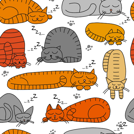 Sleeping cats, seamless pattern for your design. Vector illustration Archivio Fotografico - 103067859