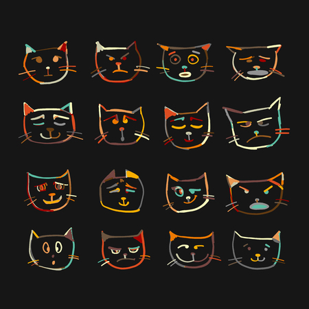 Cat faces, sketch for your design. Vector illustration