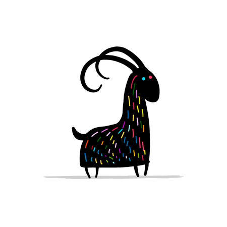 Funny goat, simple sketch for your design. Vector illustration Illustration