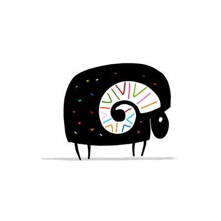 Cute ram, simple sketch for your design. Vector illustration Stock Illustration - 103144636
