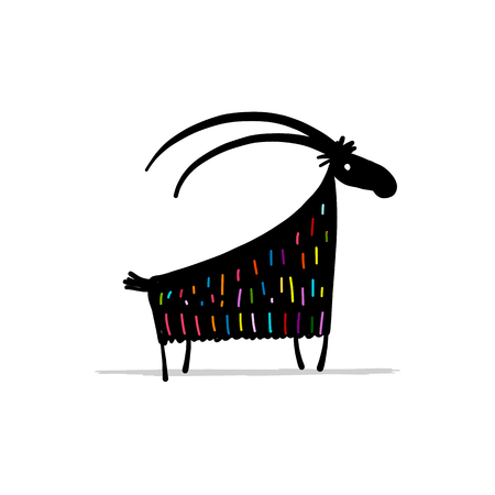 Funny goat, simple sketch for your design. Vector illustration Stock Photo