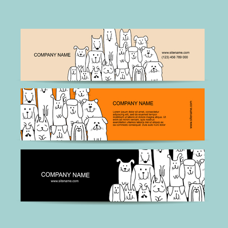 Banner design, funny dogs family. Vector illustration