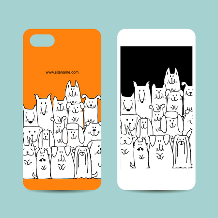 Mobile phone design, funny dogs family. Vector illustration
