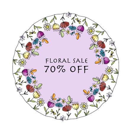 Floral banner for your design. Vector illustration Çizim