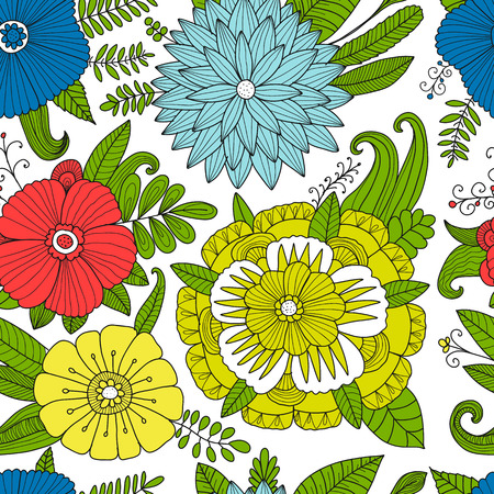 Floral seamless pattern, sketch for your design. Vector illustration