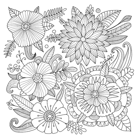 Floral background, sketch for your design. Vector illustration