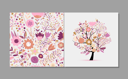 Greeting card with floral tree, spring colors. Vector illustration