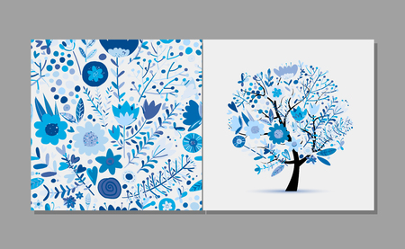 Greeting card with floral tree, winter colors. Vector illustration