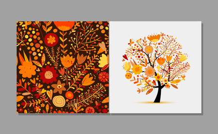 Greeting card with floral tree, autumn colors. Vector illustration Illustration