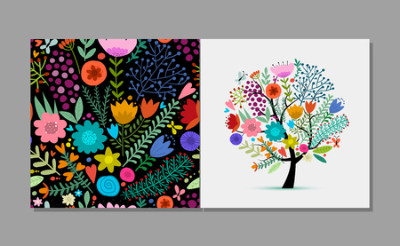 Greeting card with floral tree, summer colors. Vector illustration