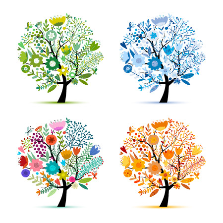 Cuatro estaciones, árbol colorido floral. Boceto para su diseño. Ilustración vectorial