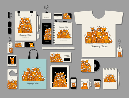Corporate flat mock-up template, funny fox family