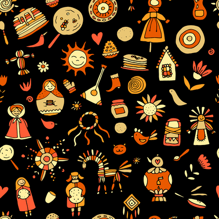 Maslenitsa or Shrovetide. Seamless pattern for your design Illustration