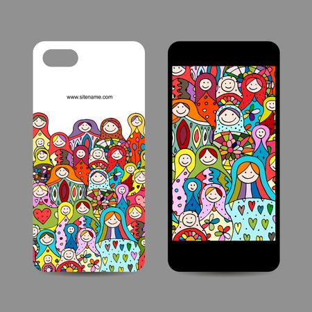 Mobile phone design. Matryoshka, russian nesting dolls Stock Illustratie