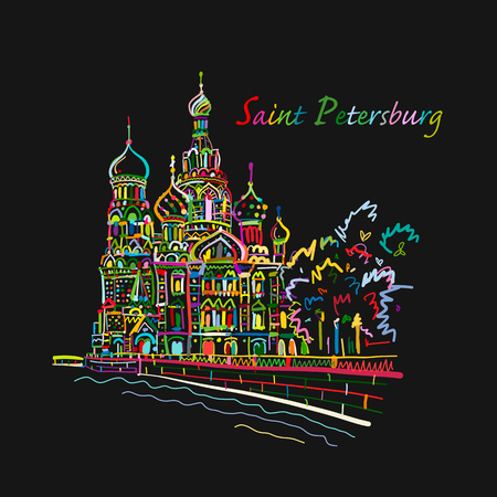 Saint Petersburg. Church of the Saviour on Spilled Blood. Russia. Sketch for your design Stock Vector - 103331930