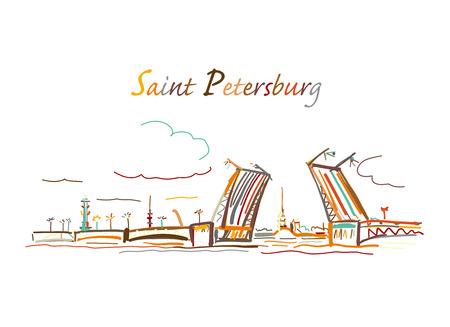 Drawbridge, symbol of Saint Petersburg, Russia. Sketch for your design Ilustração